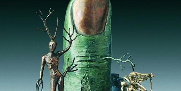 Хулиган разбил скульптуру Дали «Видение ангела» на выставке в Риге